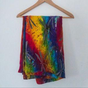 Rainbow Tye Dye + Dragonflies Tapistry